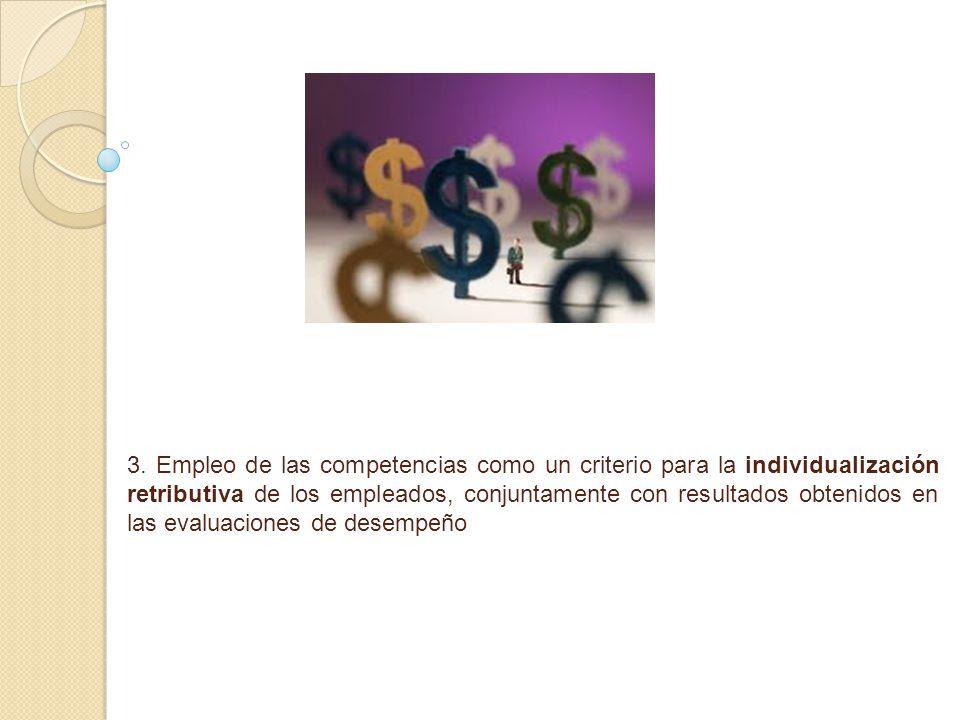 3. Empleo de las competencias como un criterio para la individualización retributiva de los empleados, conjuntamente con resultados obtenidos en las e