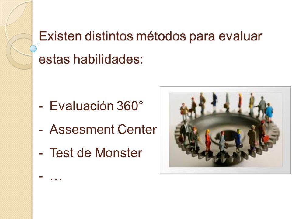 Existen distintos métodos para evaluar estas habilidades: - -Evaluación 360° - -Assesment Center - -Test de Monster - -…