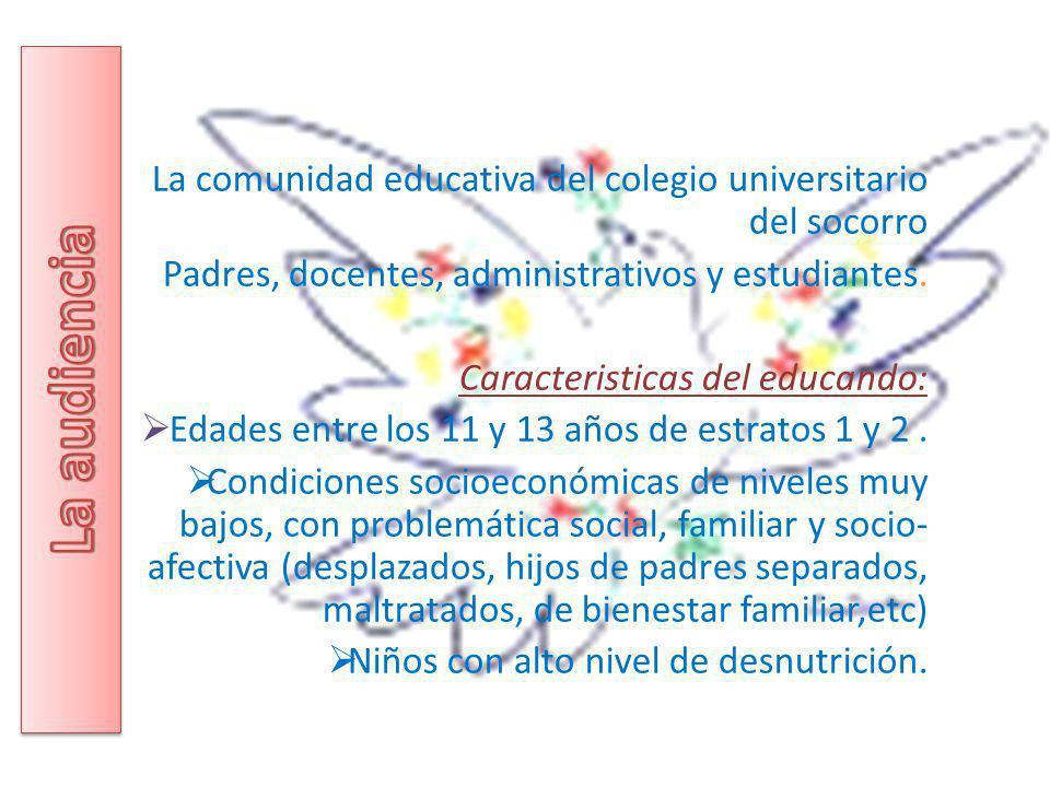 La comunidad educativa del colegio universitario del socorro Padres, docentes, administrativos y estudiantes. Caracteristicas del educando: Edades ent