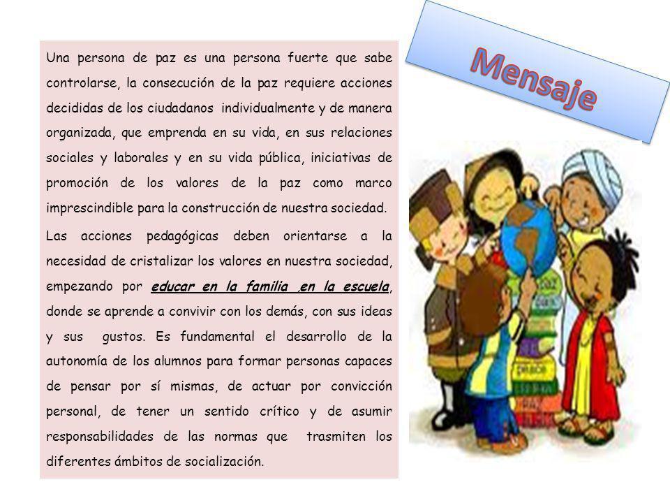 Libro alusivo a la paz: realizado por los estudiantes con la participación de los padres, educadores y administrativos del colegio.