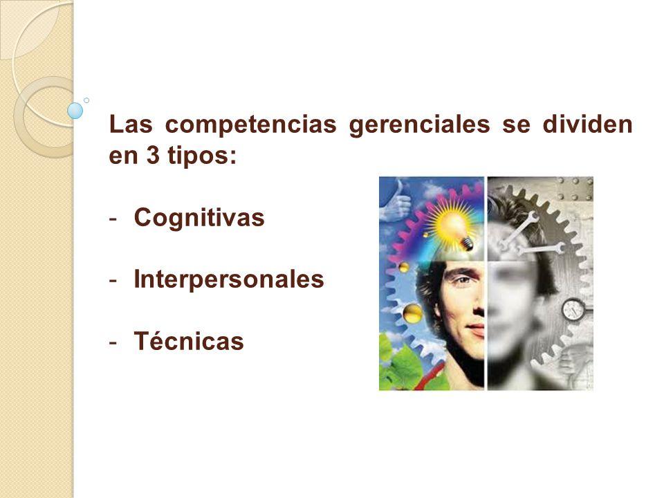 Las competencias gerenciales se dividen en 3 tipos: - -Cognitivas - -Interpersonales - -Técnicas