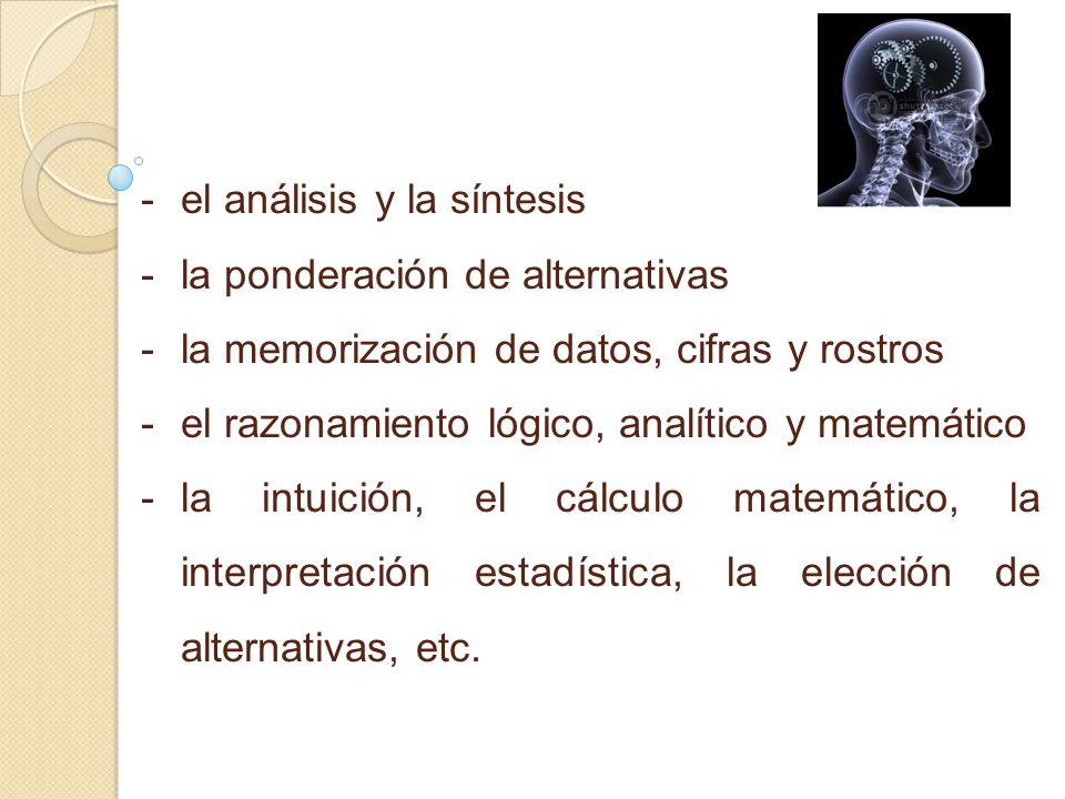 - -el análisis y la síntesis - -la ponderación de alternativas - -la memorización de datos, cifras y rostros - -el razonamiento lógico, analítico y matemático - -la intuición, el cálculo matemático, la interpretación estadística, la elección de alternativas, etc.