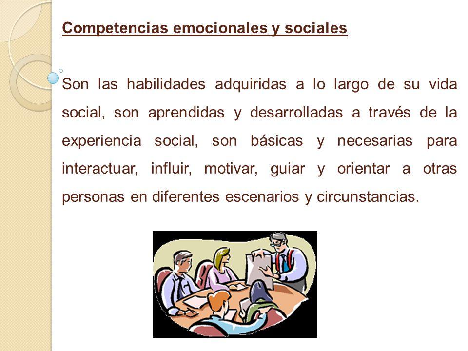 Competencias emocionales y sociales Son las habilidades adquiridas a lo largo de su vida social, son aprendidas y desarrolladas a través de la experiencia social, son básicas y necesarias para interactuar, influir, motivar, guiar y orientar a otras personas en diferentes escenarios y circunstancias.
