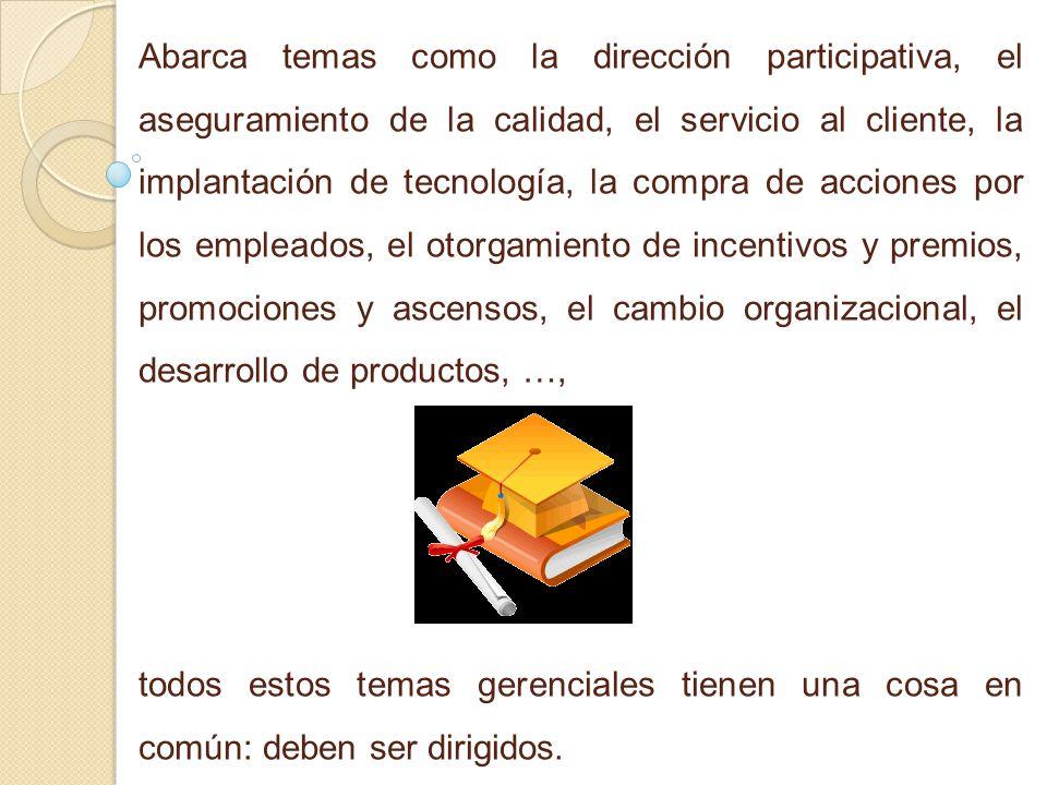 Abarca temas como la dirección participativa, el aseguramiento de la calidad, el servicio al cliente, la implantación de tecnología, la compra de acci