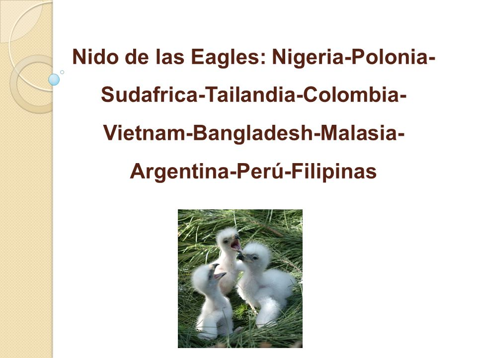 Nido de las Eagles: Nigeria-Polonia- Sudafrica-Tailandia-Colombia- Vietnam-Bangladesh-Malasia- Argentina-Perú-Filipinas