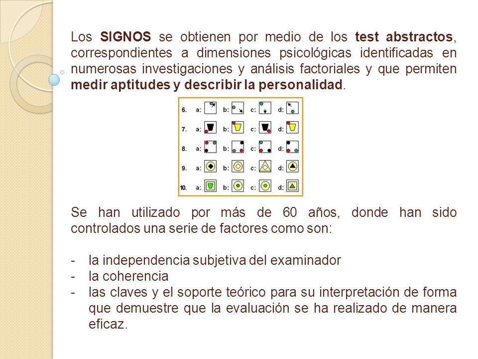Los SIGNOS se obtienen por medio de los test abstractos, correspondientes a dimensiones psicológicas identificadas en numerosas investigaciones y anál