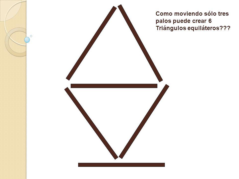 Como moviendo sólo tres palos puede crear 6 Triángulos equiláteros???