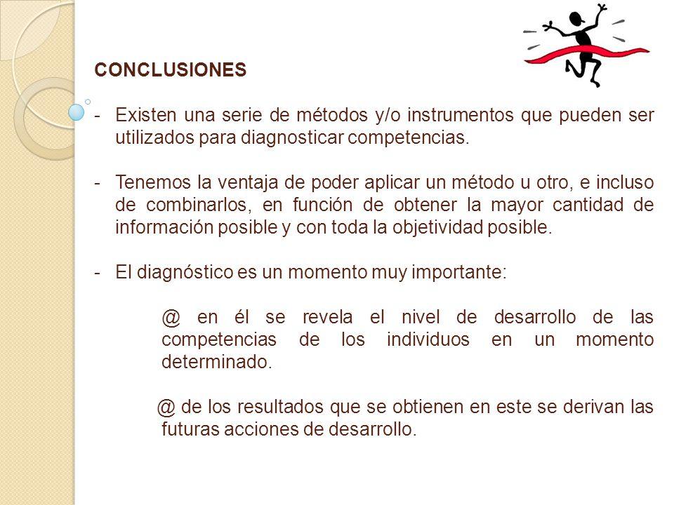 CONCLUSIONES - -Existen una serie de métodos y/o instrumentos que pueden ser utilizados para diagnosticar competencias.