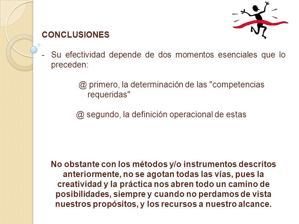 CONCLUSIONES - -Su efectividad depende de dos momentos esenciales que lo preceden: @ primero, la determinación de las