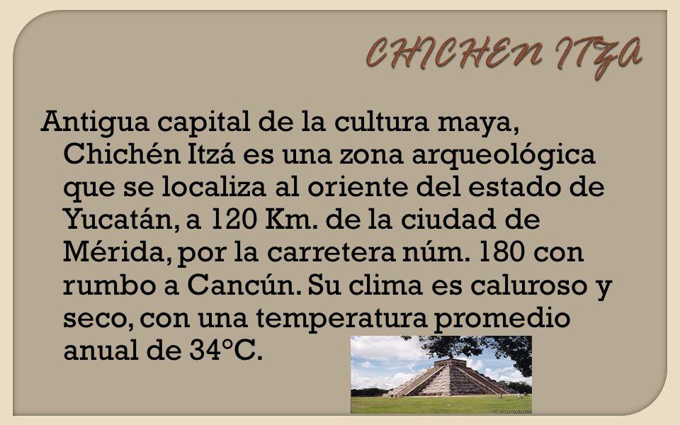 Antigua capital de la cultura maya, Chichén Itzá es una zona arqueológica que se localiza al oriente del estado de Yucatán, a 120 Km. de la ciudad de