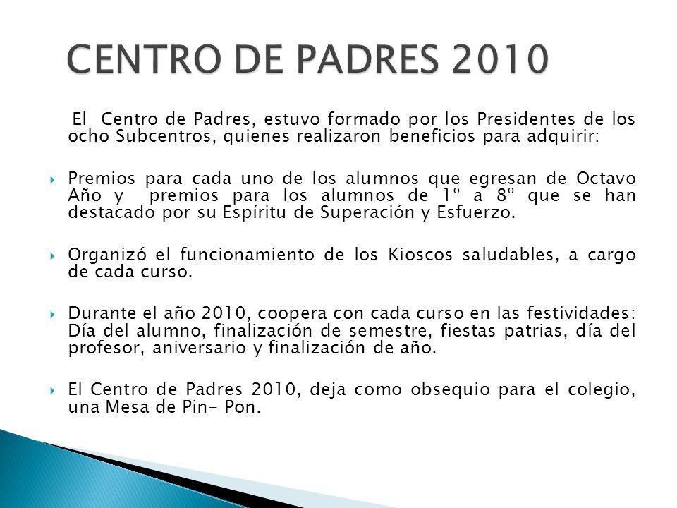 El Centro de Padres, estuvo formado por los Presidentes de los ocho Subcentros, quienes realizaron beneficios para adquirir: Premios para cada uno de