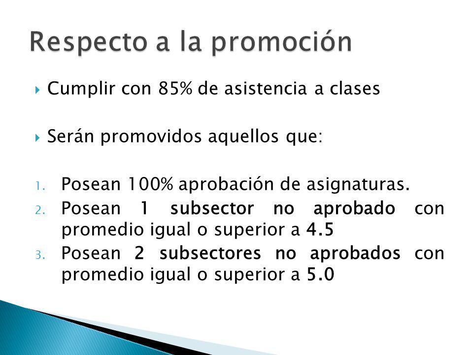 Cumplir con 85% de asistencia a clases Serán promovidos aquellos que: 1. Posean 100% aprobación de asignaturas. 2. Posean 1 subsector no aprobado con