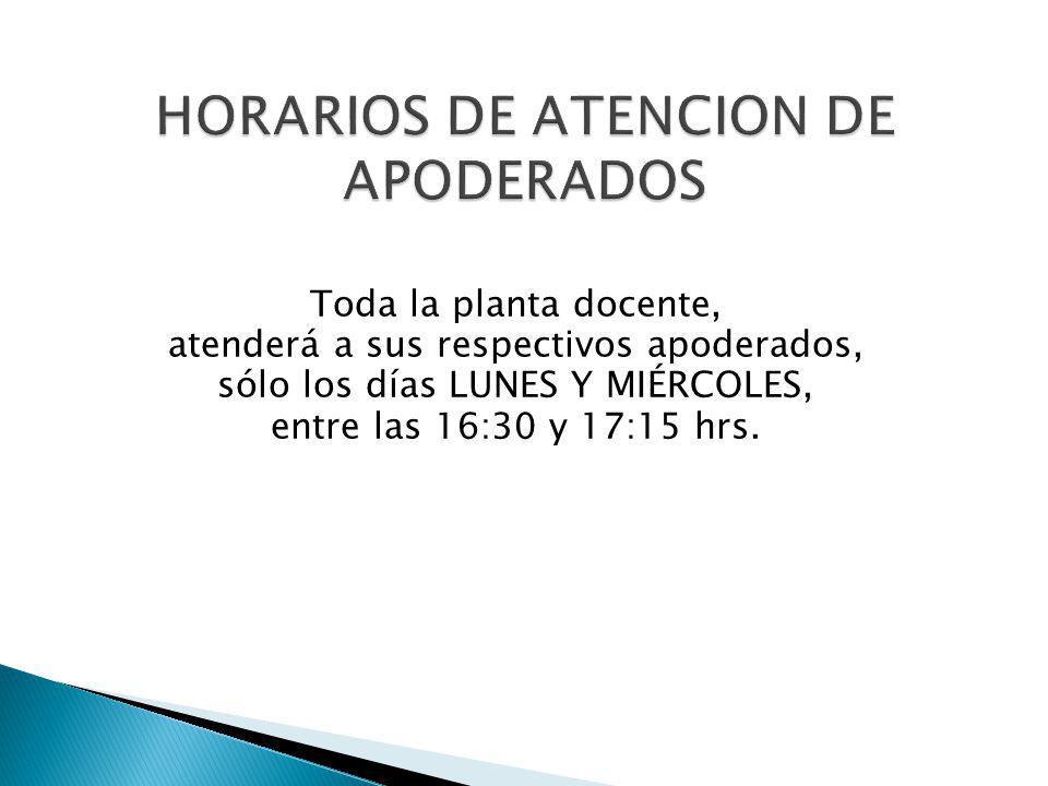 Toda la planta docente, atenderá a sus respectivos apoderados, sólo los días LUNES Y MIÉRCOLES, entre las 16:30 y 17:15 hrs.