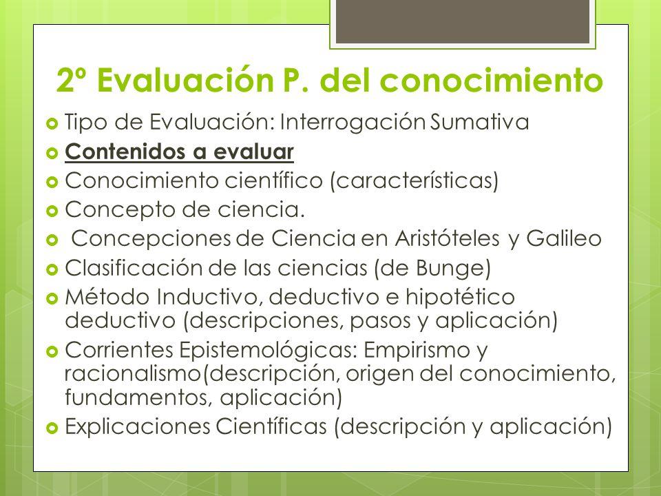 2º Evaluación P. del conocimiento Tipo de Evaluación: Interrogación Sumativa Contenidos a evaluar Conocimiento científico (características) Concepto d