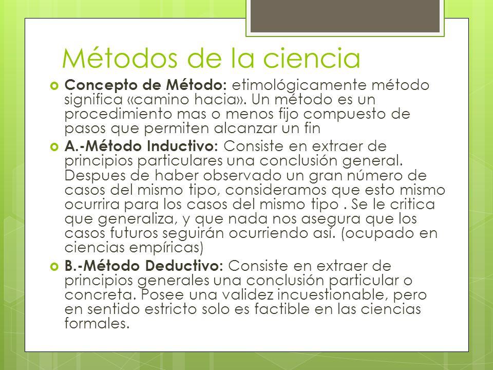 Métodos de la ciencia Concepto de Método: etimológicamente método significa «camino hacia». Un método es un procedimiento mas o menos fijo compuesto d