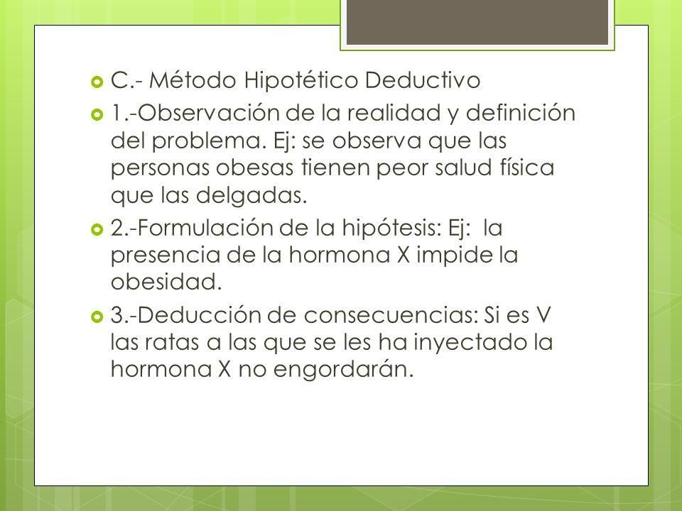 C.- Método Hipotético Deductivo 1.-Observación de la realidad y definición del problema. Ej: se observa que las personas obesas tienen peor salud físi