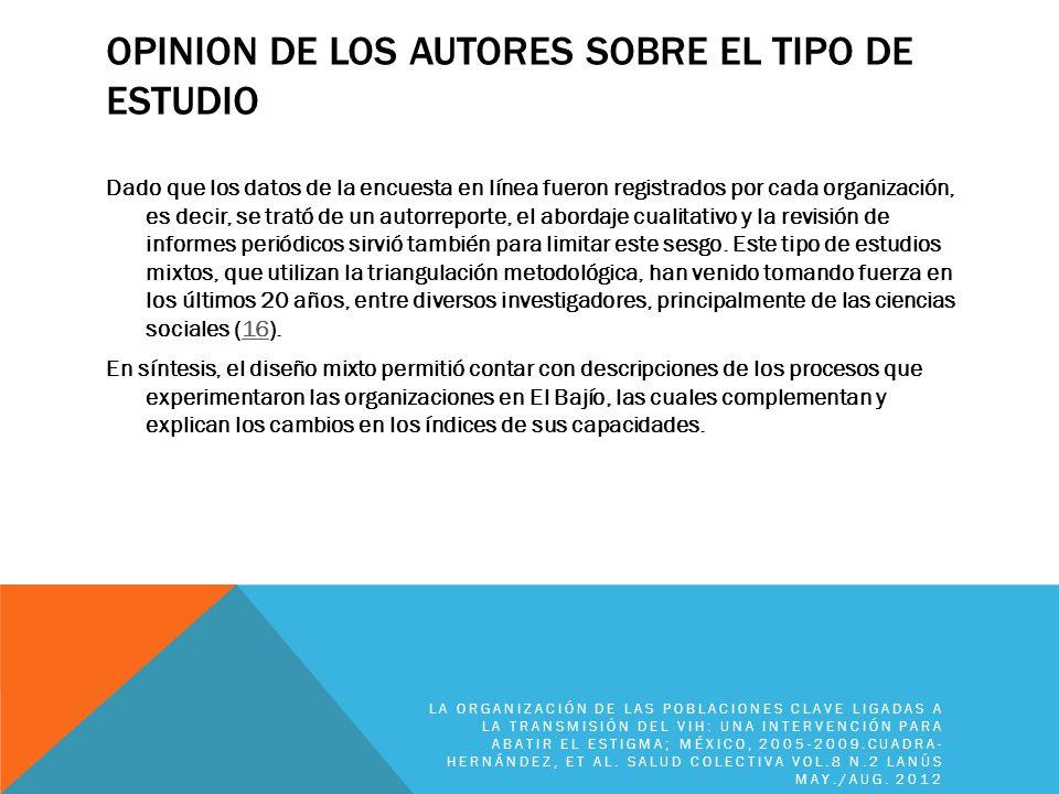 OPINION DE LOS AUTORES SOBRE EL TIPO DE ESTUDIO Dado que los datos de la encuesta en línea fueron registrados por cada organización, es decir, se trat