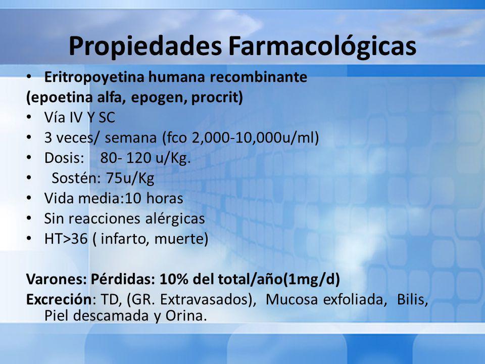 Propiedades Farmacológicas Eritropoyetina humana recombinante (epoetina alfa, epogen, procrit) Vía IV Y SC 3 veces/ semana (fco 2,000-10,000u/ml) Dosis: 80- 120 u/Kg.