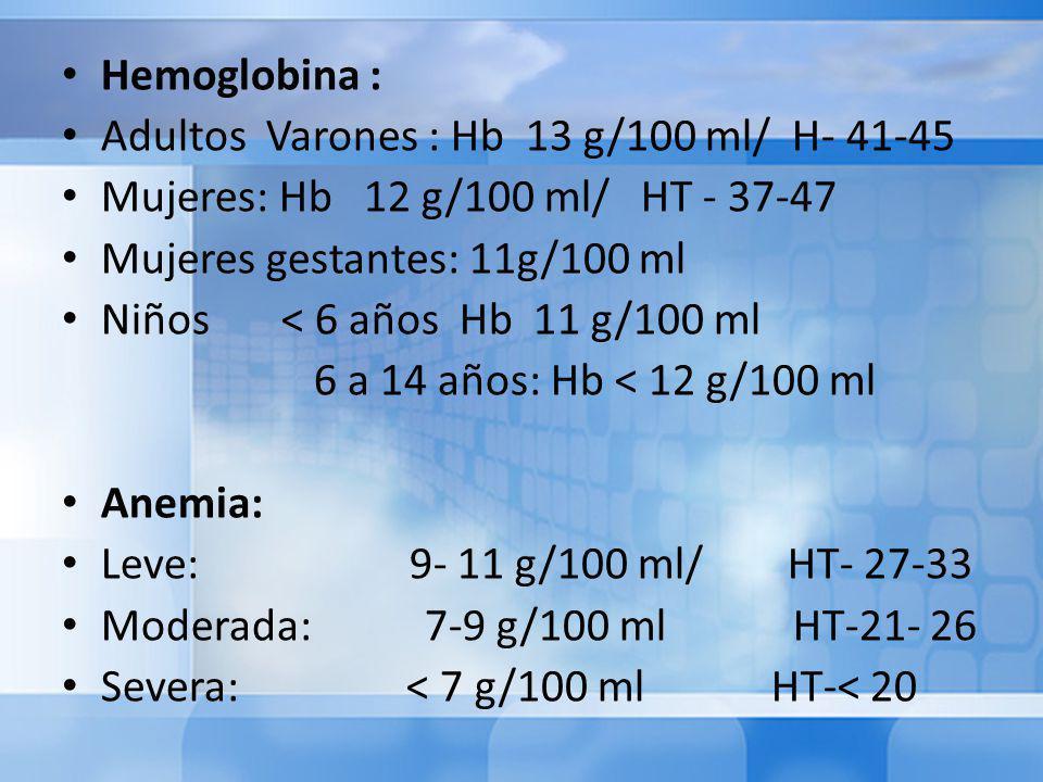 Hemoglobina : Adultos Varones : Hb 13 g/100 ml/ H- 41-45 Mujeres: Hb 12 g/100 ml/ HT - 37-47 Mujeres gestantes: 11g/100 ml Niños < 6 años Hb 11 g/100 ml 6 a 14 años: Hb < 12 g/100 ml Anemia: Leve: 9- 11 g/100 ml/ HT- 27-33 Moderada: 7-9 g/100 ml HT-21- 26 Severa: < 7 g/100 ml HT-< 20