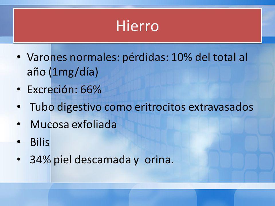 Hierro Varones normales: pérdidas: 10% del total al año (1mg/día) Excreción: 66% Tubo digestivo como eritrocitos extravasados Mucosa exfoliada Bilis 34% piel descamada y orina.