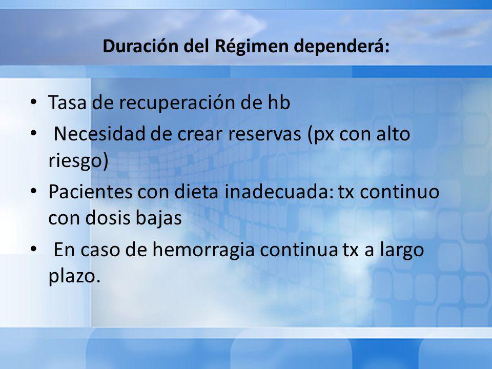 Duración del Régimen dependerá: Tasa de recuperación de hb Necesidad de crear reservas (px con alto riesgo) Pacientes con dieta inadecuada: tx continuo con dosis bajas En caso de hemorragia continua tx a largo plazo.