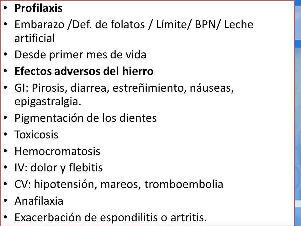 Profilaxis Embarazo /Def.