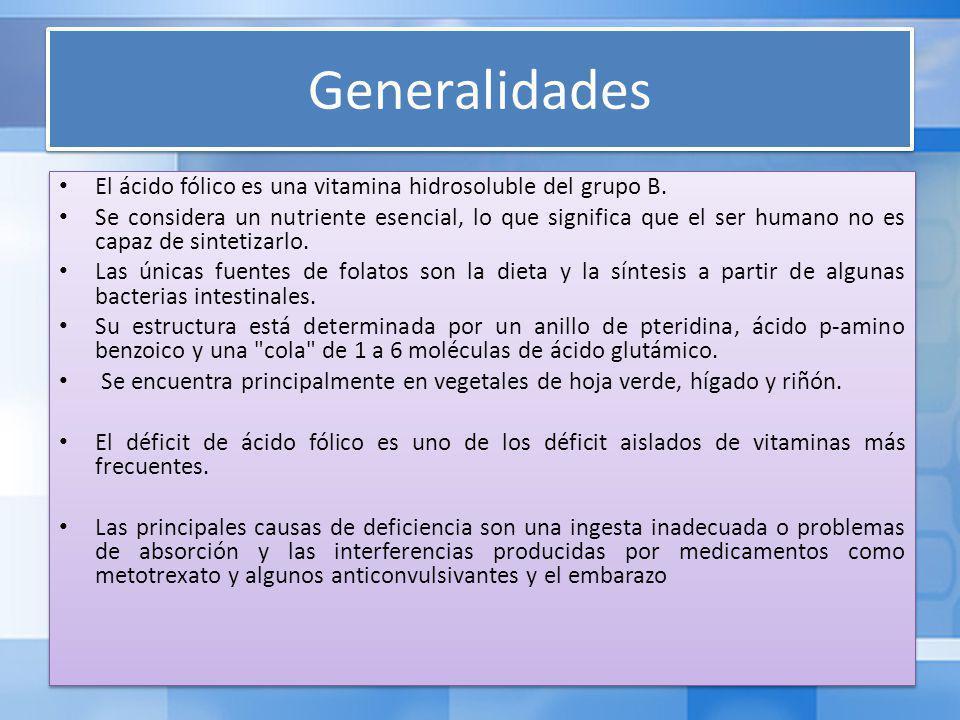 Generalidades El ácido fólico es una vitamina hidrosoluble del grupo B.