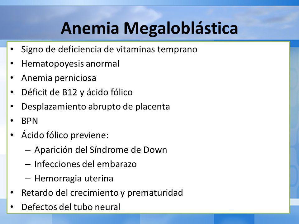 Anemia Megaloblástica Signo de deficiencia de vitaminas temprano Hematopoyesis anormal Anemia perniciosa Déficit de B12 y ácido fólico Desplazamiento abrupto de placenta BPN Ácido fólico previene: – Aparición del Síndrome de Down – Infecciones del embarazo – Hemorragia uterina Retardo del crecimiento y prematuridad Defectos del tubo neural