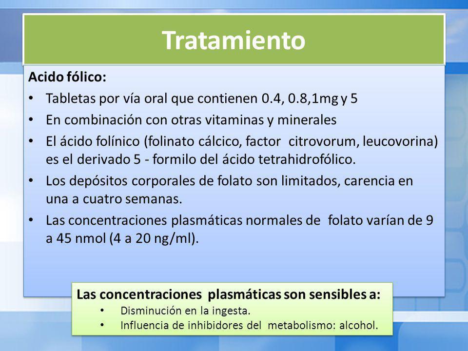 Tratamiento Acido fólico: Tabletas por vía oral que contienen 0.4, 0.8,1mg y 5 En combinación con otras vitaminas y minerales El ácido folínico (folinato cálcico, factor citrovorum, leucovorina) es el derivado 5 - formilo del ácido tetrahidrofólico.