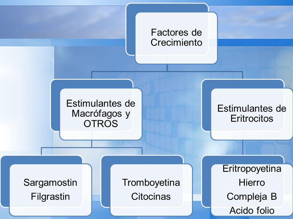 Factores de Crecimiento Estimulantes de Macrófagos y OTROS Sargamostin Filgrastin Tromboyetina Citocinas Estimulantes de Eritrocitos Eritropoyetina Hierro Compleja B Acido folio