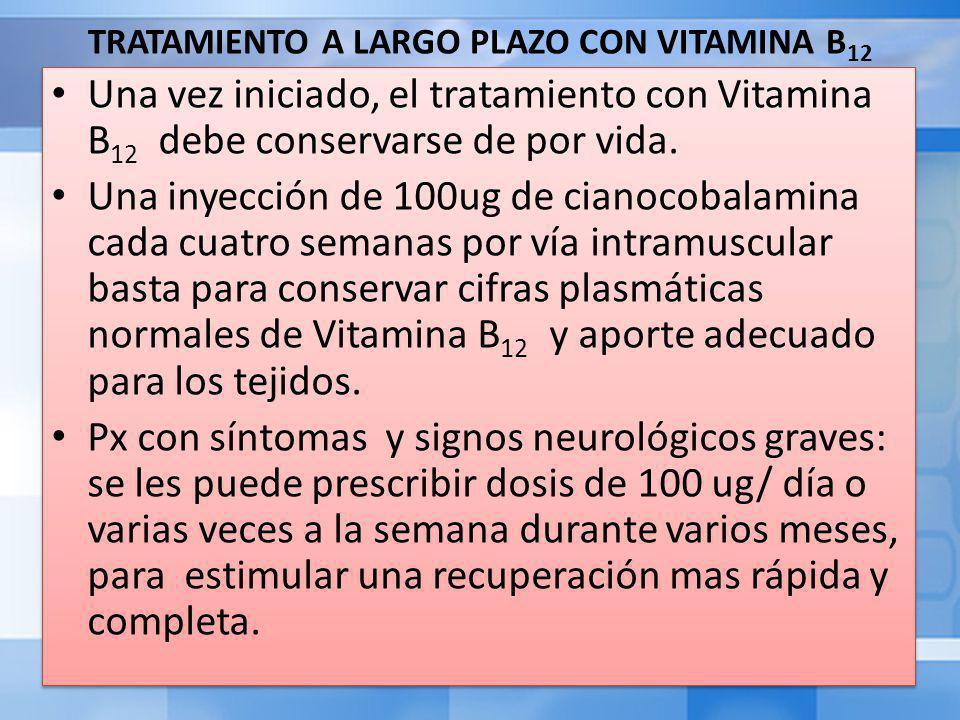 TRATAMIENTO A LARGO PLAZO CON VITAMINA B 12 Una vez iniciado, el tratamiento con Vitamina B 12 debe conservarse de por vida.