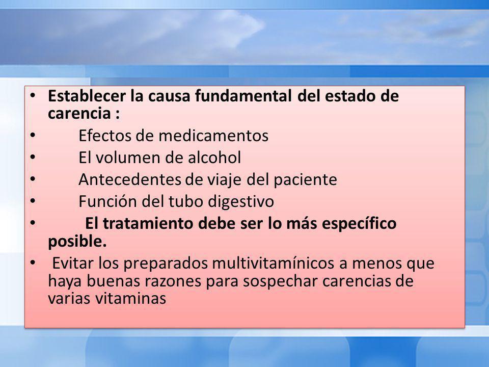 Establecer la causa fundamental del estado de carencia : Efectos de medicamentos El volumen de alcohol Antecedentes de viaje del paciente Función del tubo digestivo El tratamiento debe ser lo más específico posible.