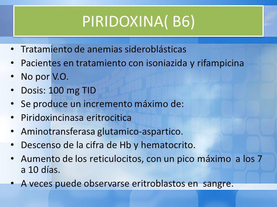 PIRIDOXINA( B6) Tratamiento de anemias sideroblásticas Pacientes en tratamiento con isoniazida y rifampicina No por V.O.