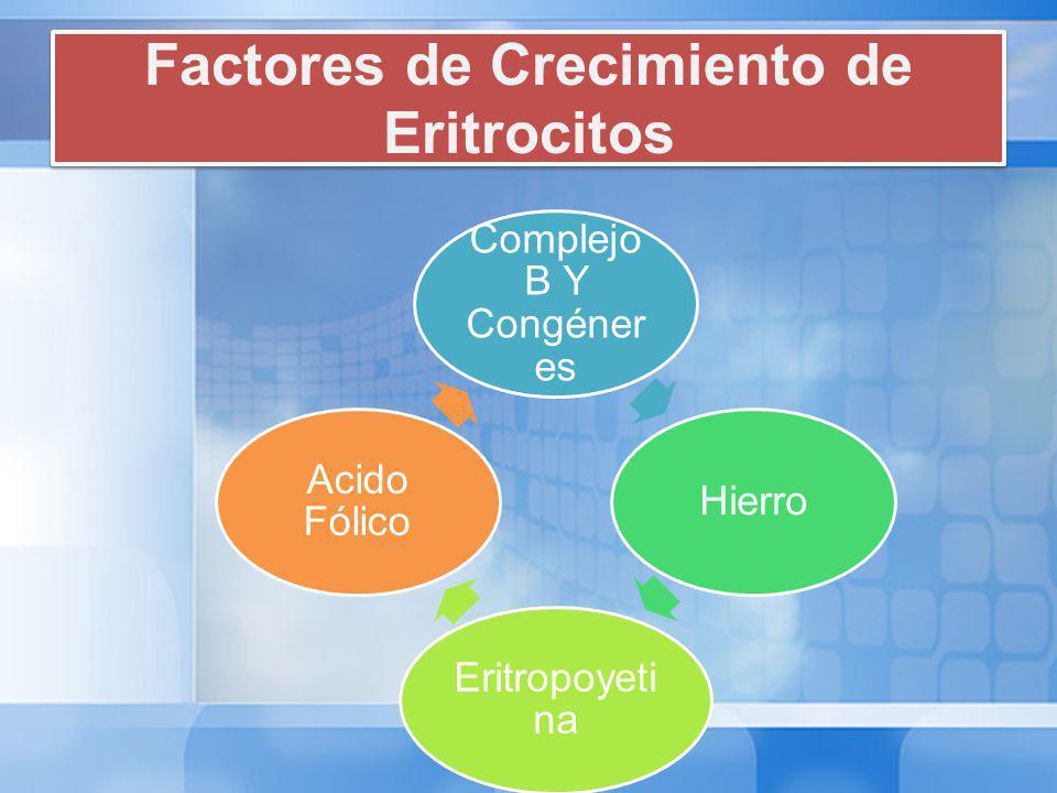 Factores de Crecimiento de Eritrocitos Complejo B Y Congéner es Hierro Eritropoyeti na Acido Fólico