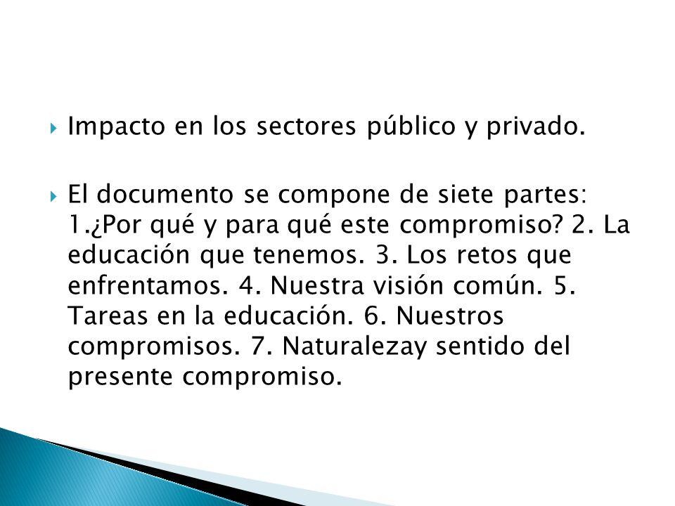 Impacto en los sectores público y privado. El documento se compone de siete partes: 1.¿Por qué y para qué este compromiso? 2. La educación que tenemos