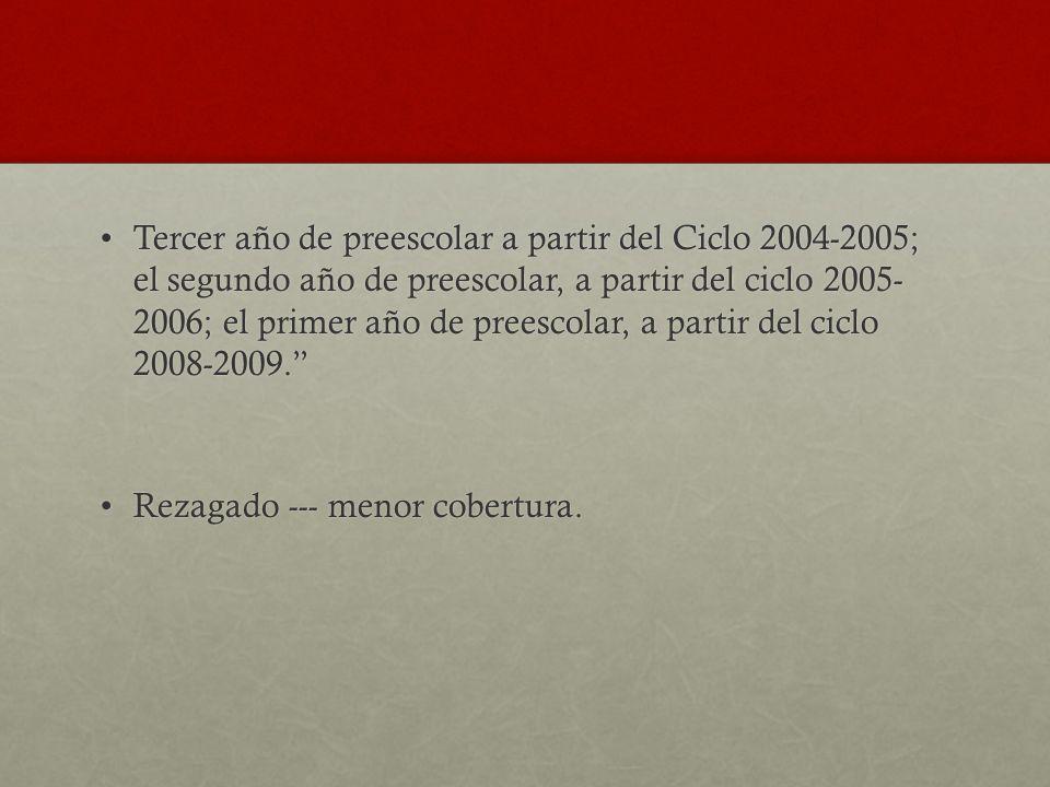Tercer año de preescolar a partir del Ciclo 2004-2005; el segundo año de preescolar, a partir del ciclo 2005- 2006; el primer año de preescolar, a par