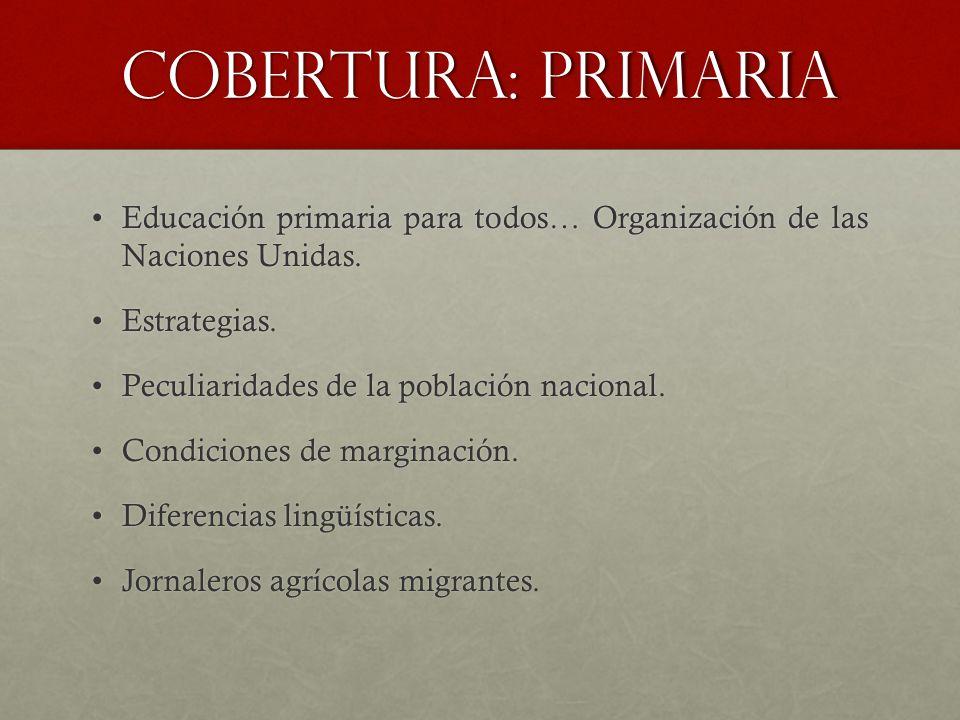 Cobertura: primaria Educación primaria para todos… Organización de las Naciones Unidas.Educación primaria para todos… Organización de las Naciones Uni