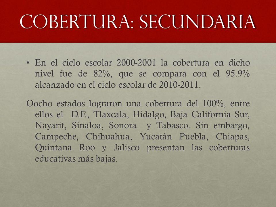 Cobertura: secundaria En el ciclo escolar 2000-2001 la cobertura en dicho nivel fue de 82%, que se compara con el 95.9% alcanzado en el ciclo escolar