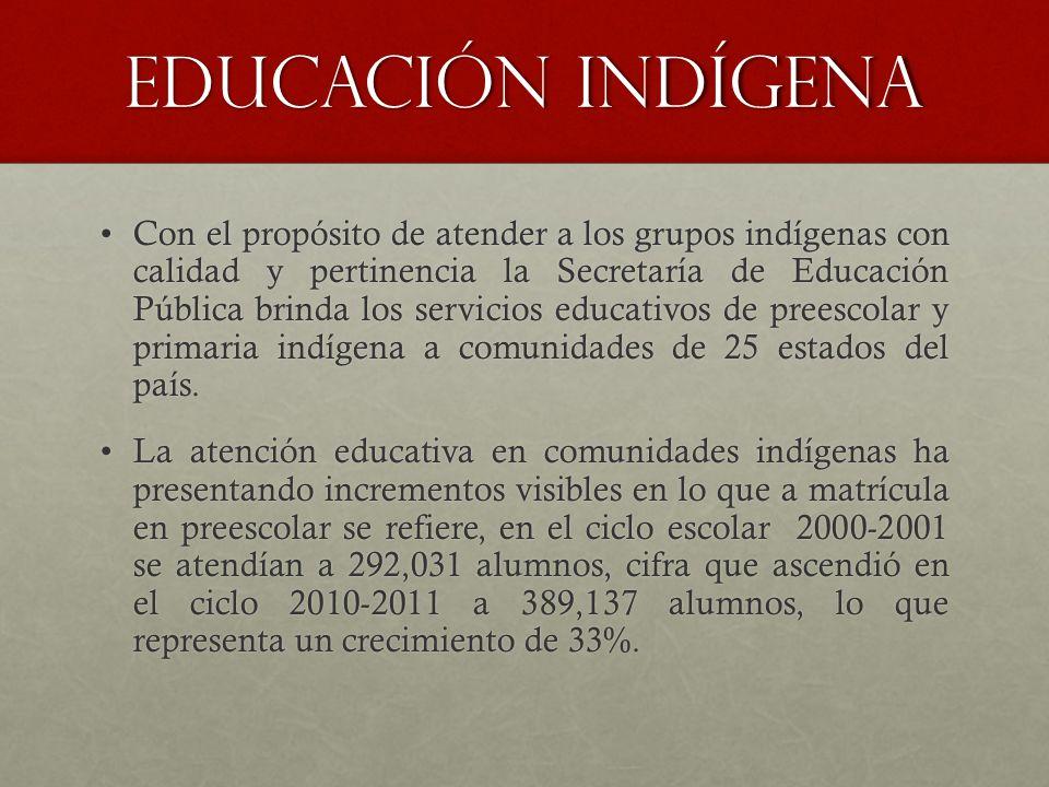 Educación indígena Con el propósito de atender a los grupos indígenas con calidad y pertinencia la Secretaría de Educación Pública brinda los servicio