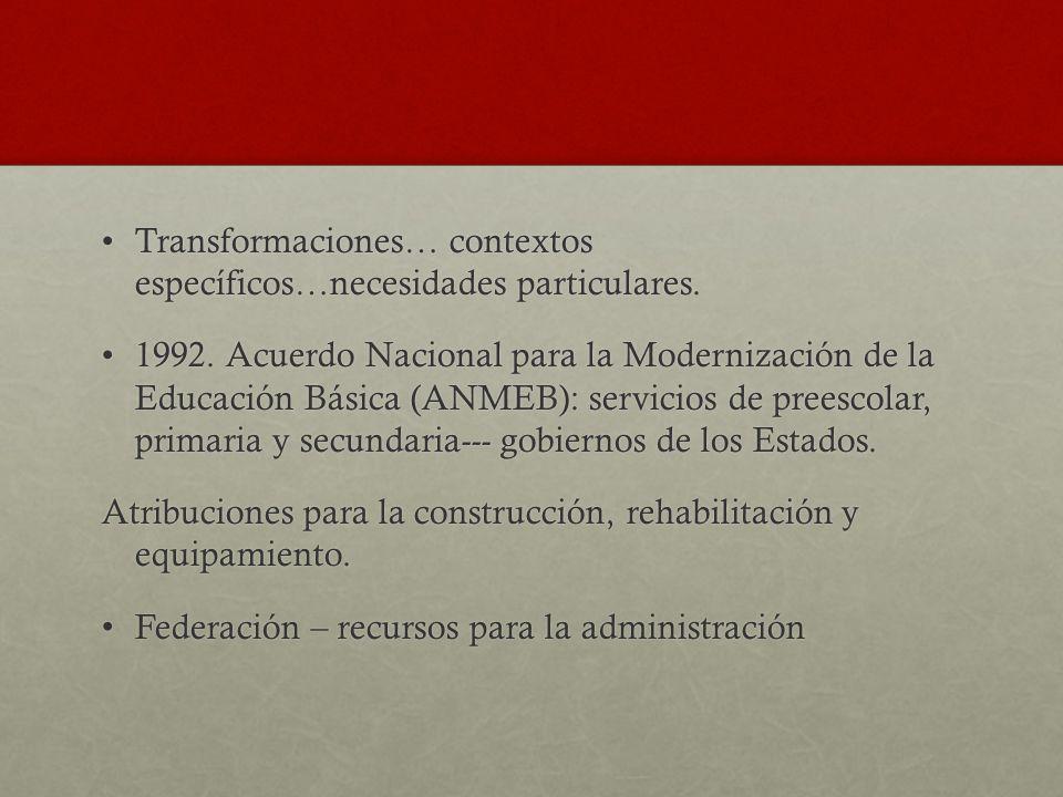 Transformaciones… contextos específicos…necesidades particulares.Transformaciones… contextos específicos…necesidades particulares. 1992. Acuerdo Nacio