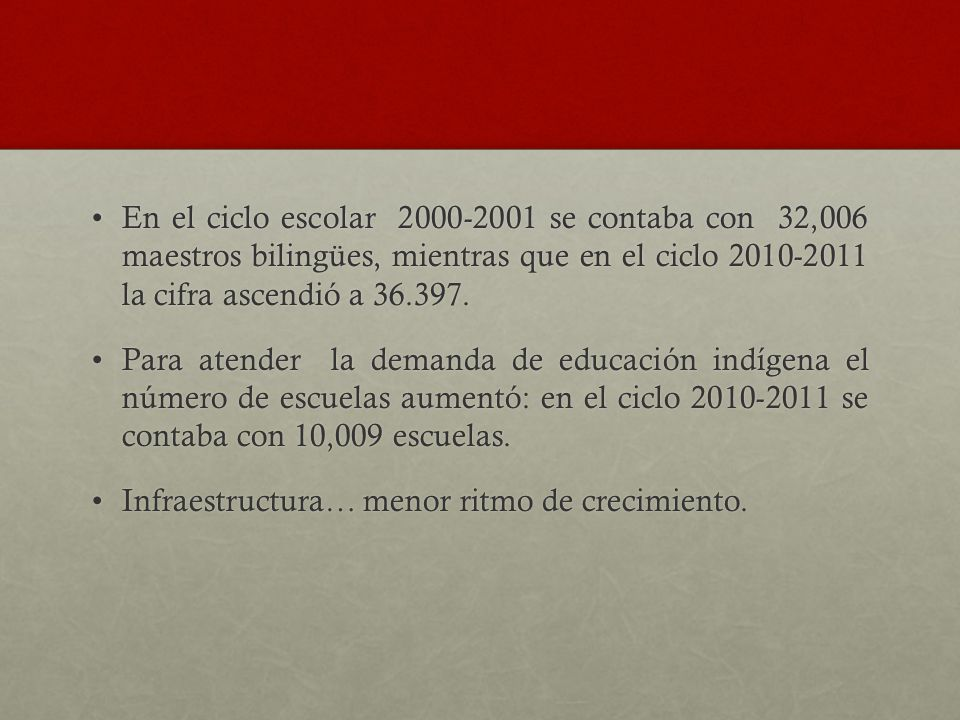 En el ciclo escolar 2000-2001 se contaba con 32,006 maestros bilingües, mientras que en el ciclo 2010-2011 la cifra ascendió a 36.397.En el ciclo escolar 2000-2001 se contaba con 32,006 maestros bilingües, mientras que en el ciclo 2010-2011 la cifra ascendió a 36.397.