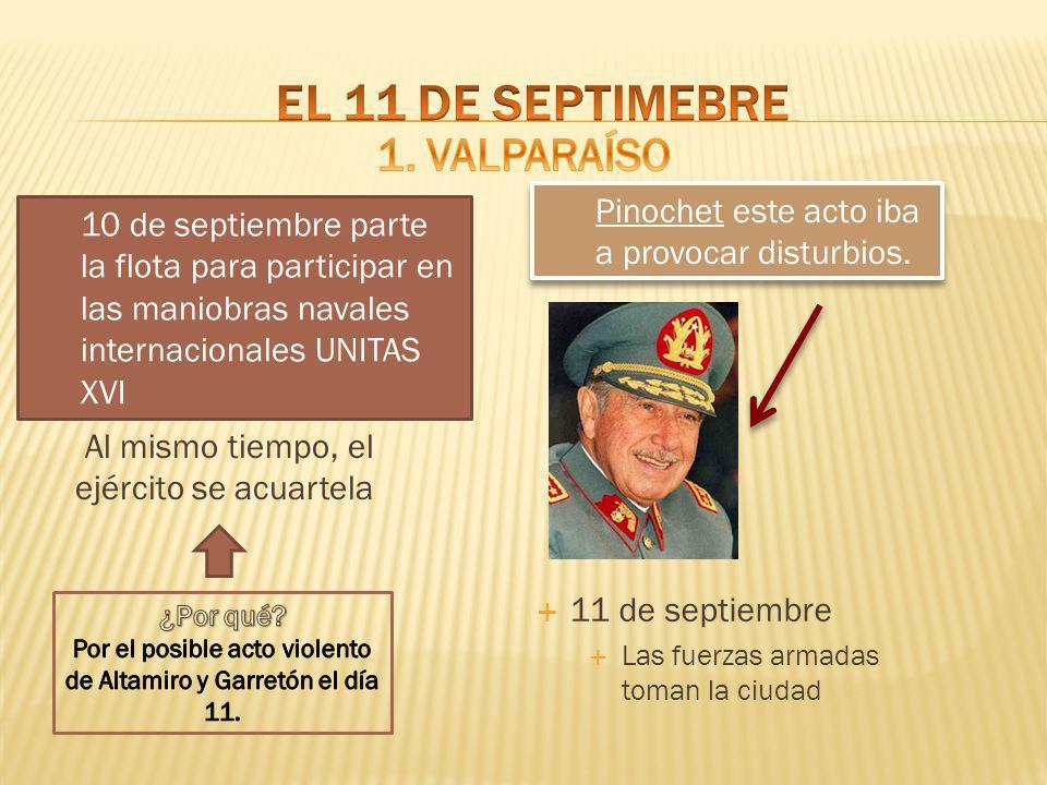 Al mismo tiempo, el ejército se acuartela 11 de septiembre Las fuerzas armadas toman la ciudad 10 de septiembre parte la flota para participar en las