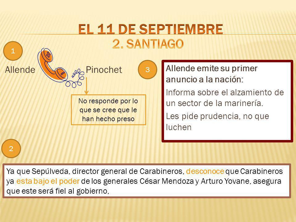 Allende Allende emite su primer anuncio a la nación: Informa sobre el alzamiento de un sector de la marinería. Les pide prudencia, no que luchen Pinoc