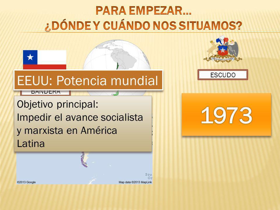 ESCUDO BANDERA EEUU: Potencia mundial Objetivo principal: Impedir el avance socialista y marxista en América Latina Objetivo principal: Impedir el ava