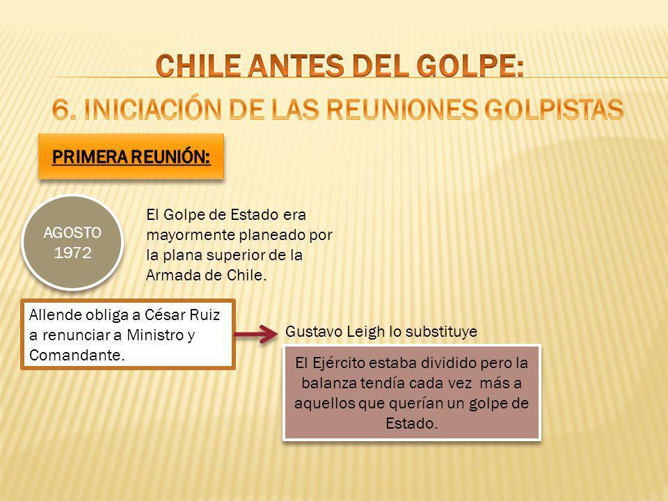 AGOSTO 1972 El Golpe de Estado era mayormente planeado por la plana superior de la Armada de Chile. Allende obliga a César Ruiz a renunciar a Ministro
