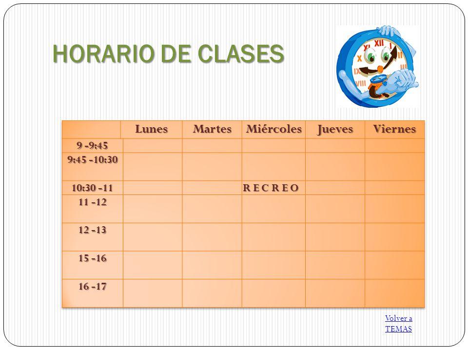 HORARIO DE CLASES Volver a TEMAS