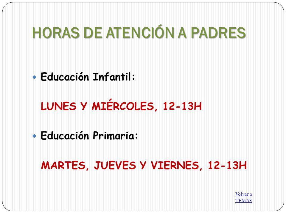 HORAS DE ATENCIÓN A PADRES Educación Infantil: LUNES Y MIÉRCOLES, 12-13H Educación Primaria: MARTES, JUEVES Y VIERNES, 12-13H Volver a TEMAS