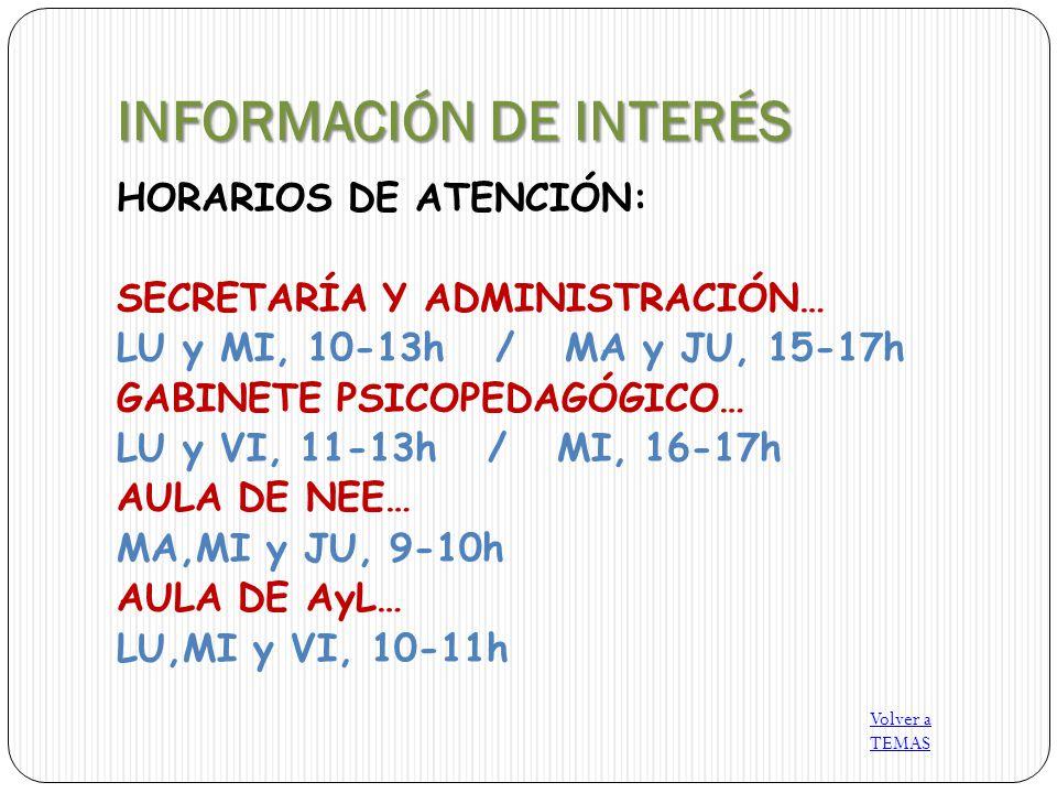 INFORMACIÓN DE INTERÉS HORARIOS DE ATENCIÓN: SECRETARÍA Y ADMINISTRACIÓN… LU y MI, 10-13h / MA y JU, 15-17h GABINETE PSICOPEDAGÓGICO… LU y VI, 11-13h