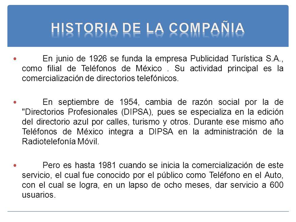 En junio de 1926 se funda la empresa Publicidad Turística S.A., como filial de Teléfonos de México. Su actividad principal es la comercialización de d