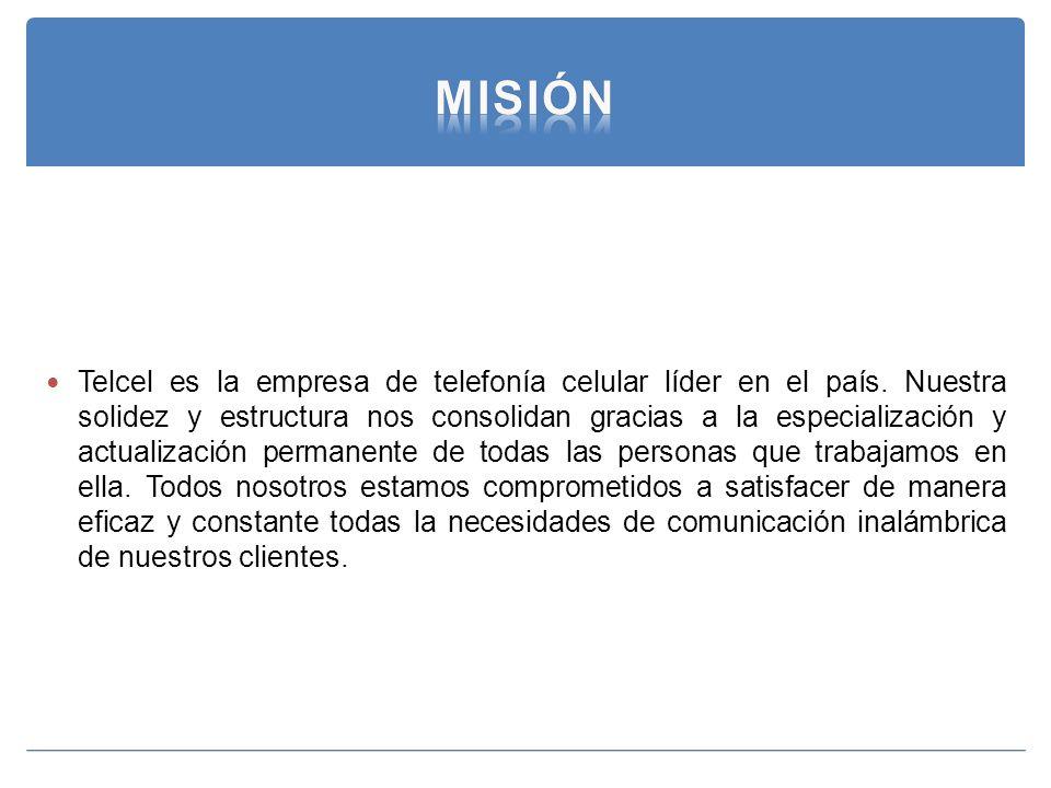 Telcel es la empresa de telefonía celular líder en el país. Nuestra solidez y estructura nos consolidan gracias a la especialización y actualización p
